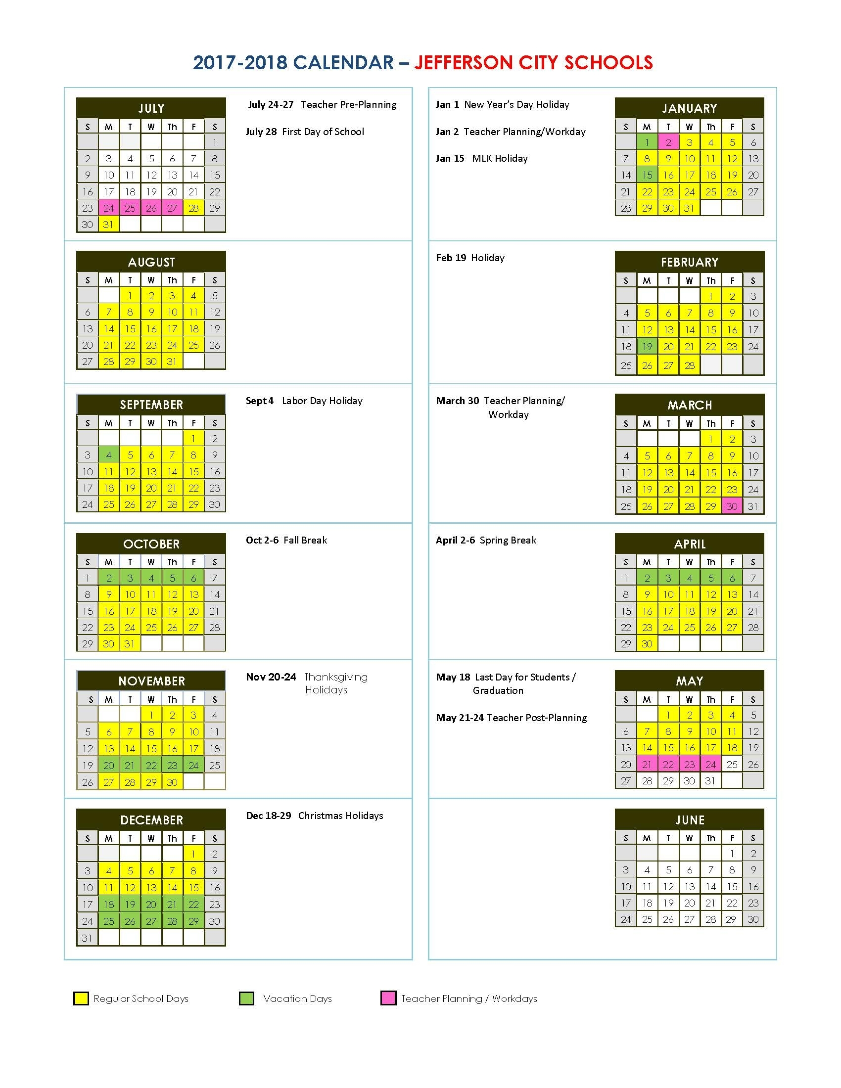 Jefferson City Schools regarding Uga Academic Calendar 2019 2020