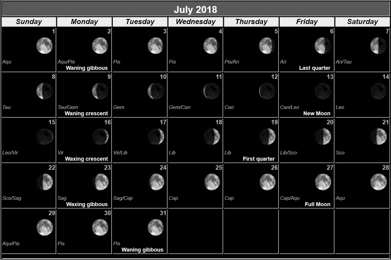 July 2018 Moon Phases Calendar | Max Calendars in Moon Phases Of August With Time And Date Calendar