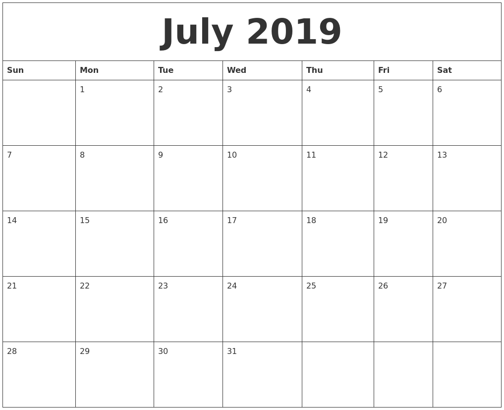 July 2019 Calendar for Calendar Maker July 2019-June 2020
