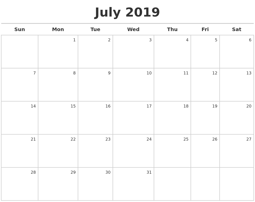 July 2019 Calendar Maker regarding Calendar Maker July 2019-June 2020