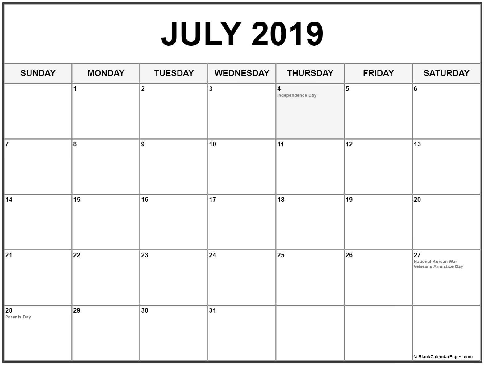 July 2019 Calendar With Holidays #july #july2019 #julycalendar2019 in July 2019 - July 2020 Calendar Printable Free