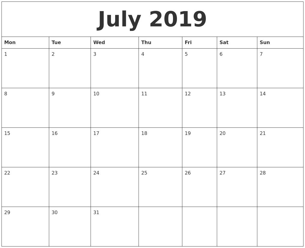 July 2019 Calendar within Free Calendar July 2019-June 2020
