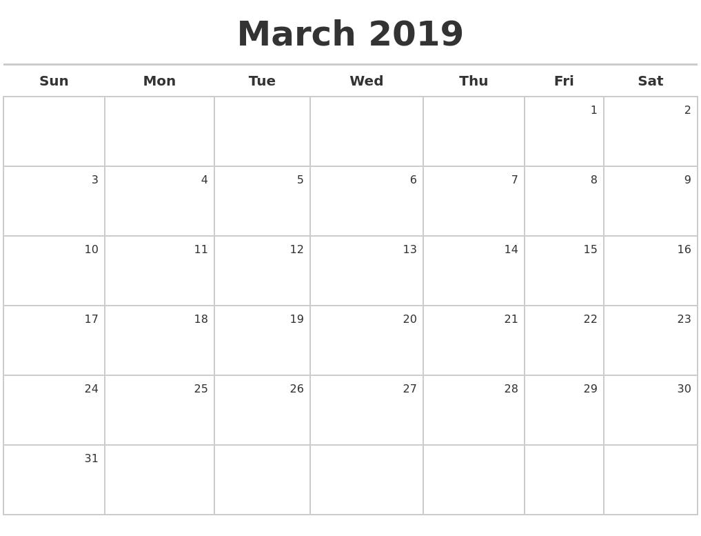 July 2019 Month Calendar pertaining to Calendar Maker July 2019-June 2020