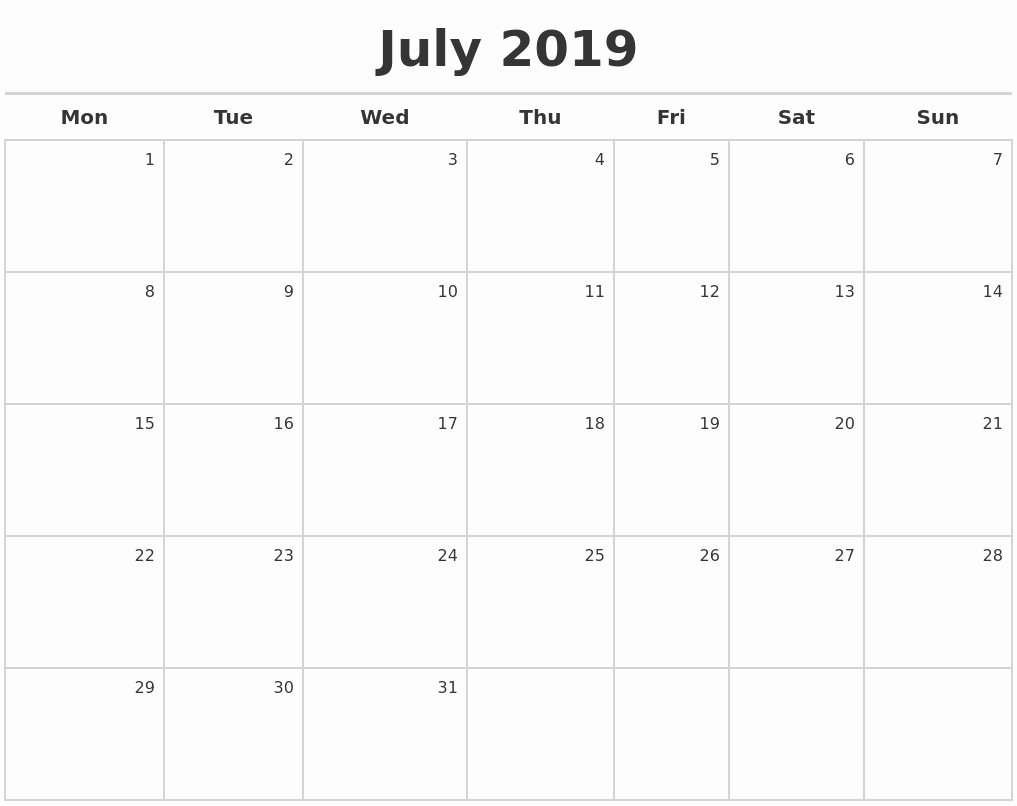 July 2019 Print Monthly Calendar Printable July 2019 Calendar Free with regard to Caleners From July 2019 -December 2020 Free Printable