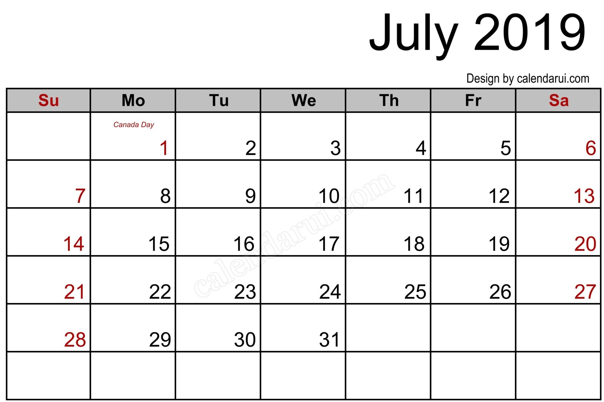 July 2019 Printable Calendar Pdf Free Monthly Template - July 2019 in Caleners From July 2019 -December 2020 Free Printable