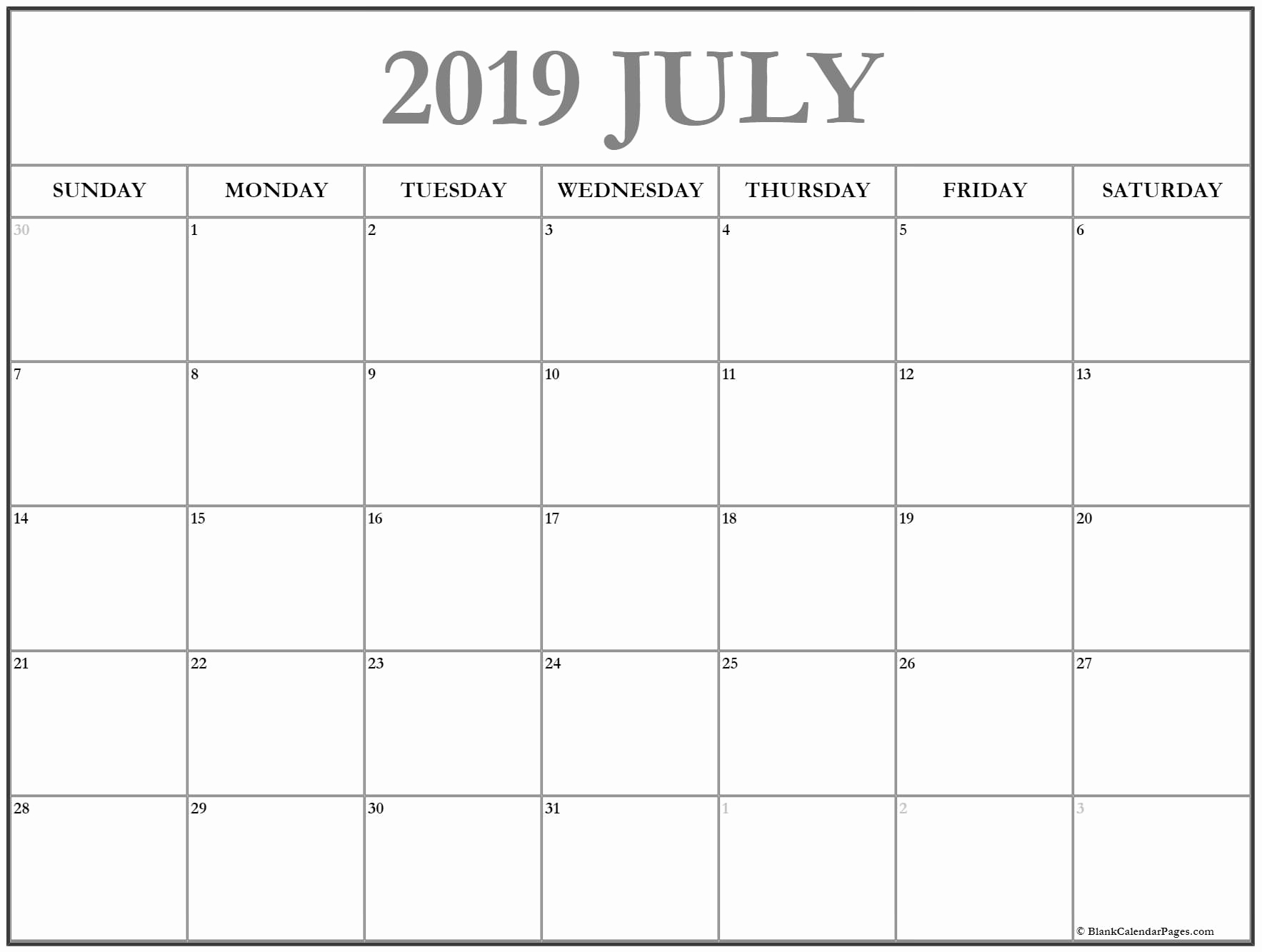 July 2019 Printable Calendar Pdf - Free Printable Calendar throughout Caleners From July 2019 -December 2020 Free Printable