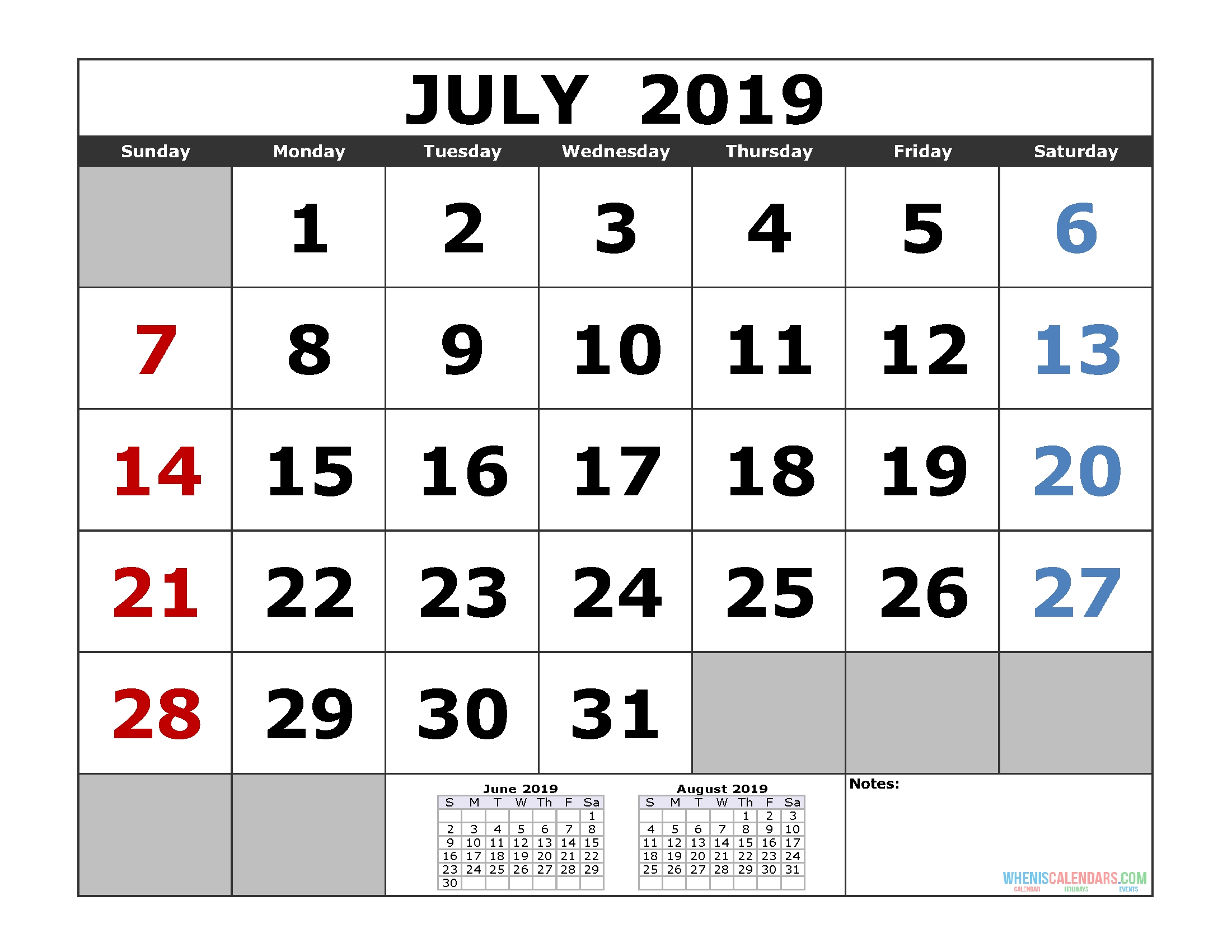 July 2019 Printable Calendar Template (3 Month Calendar)   Free regarding Caleners From July 2019 -December 2020 Free Printable