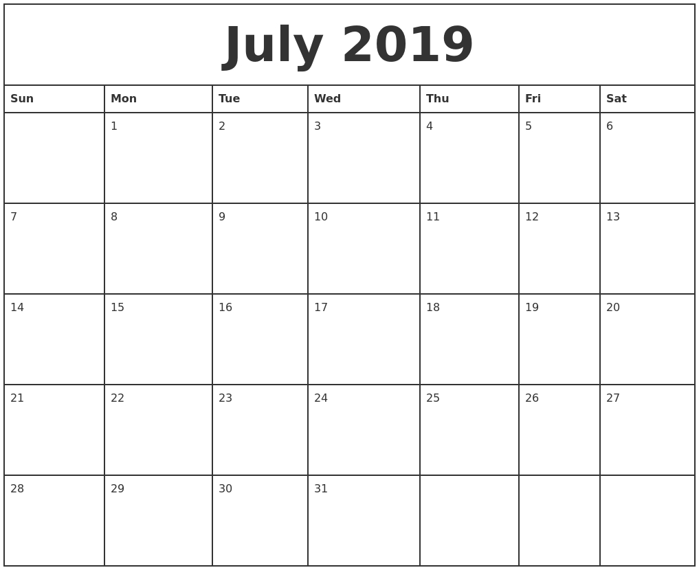July 2019 Printable Monthly Calendar pertaining to Fill In Printable Monthly Calendar