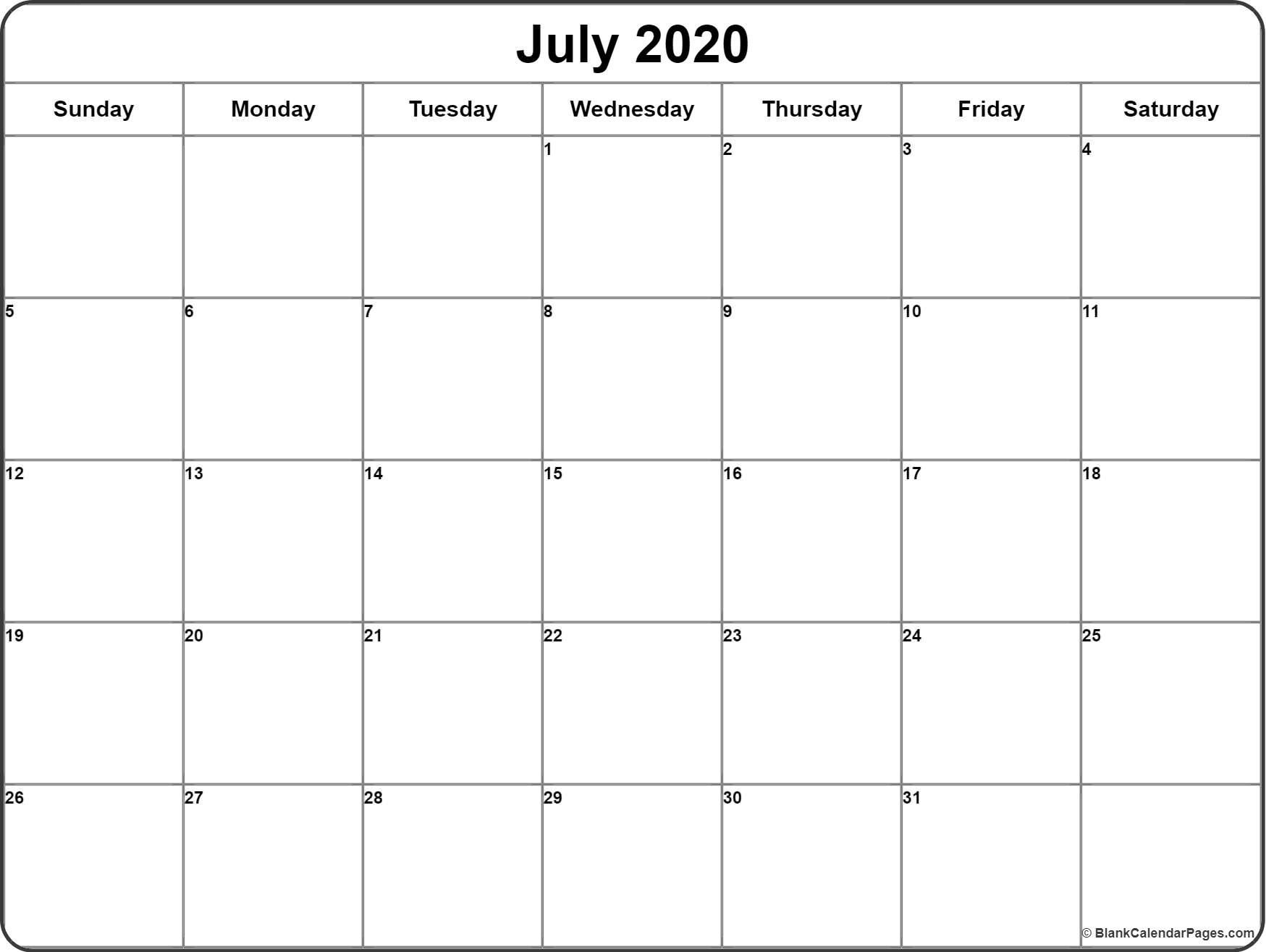 July 2020 Calendar   Free Printable Monthly Calendars pertaining to June July August 2020 Calendar