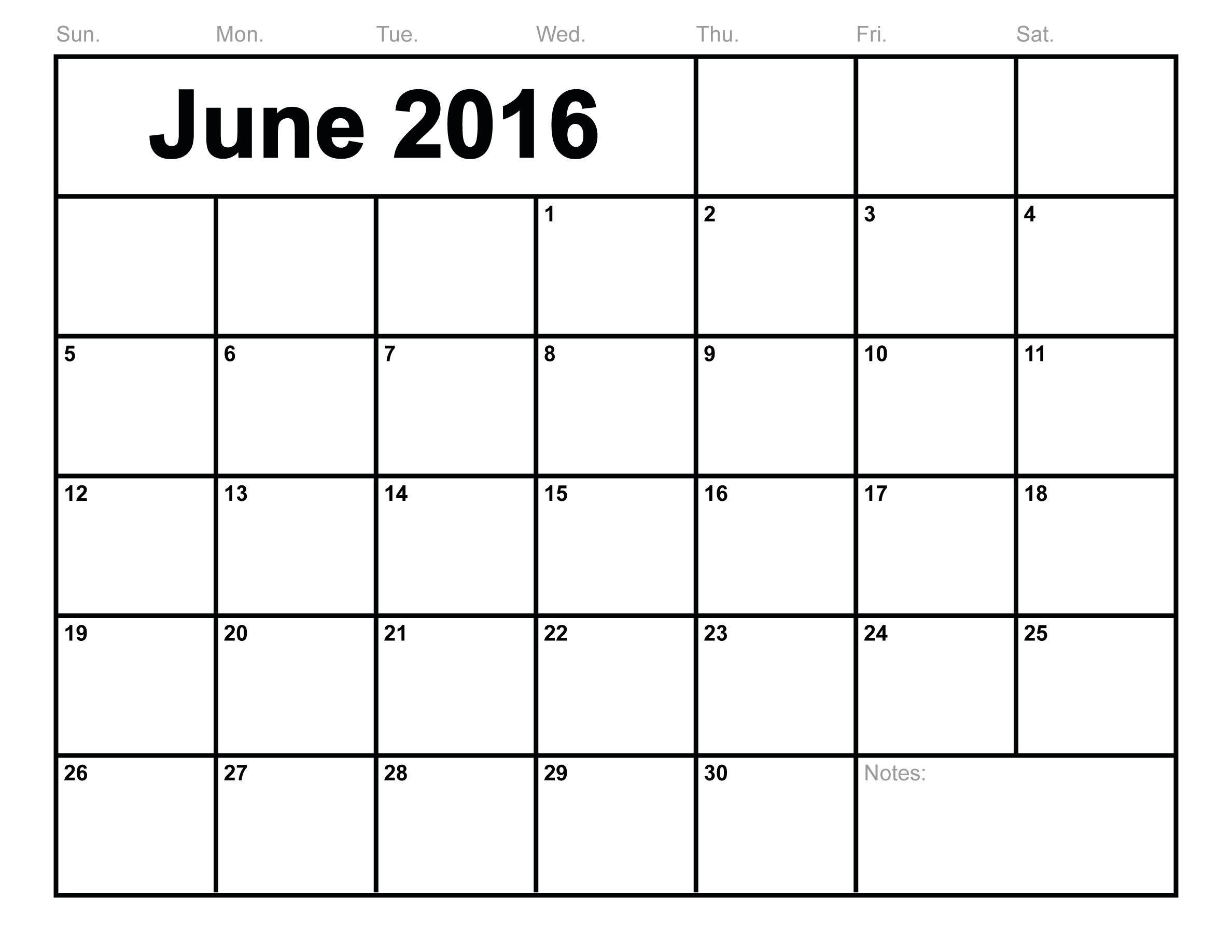 June-2016-Calendar-Printable-Free-Blank-Calendar-2016-Monthly throughout Free Blank Calendars By Month