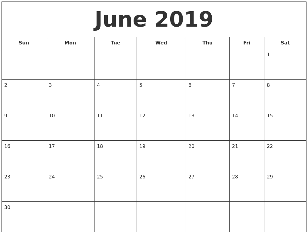 June 2019 Blank Calendar Landscape And Vertical Layout - Free in Free Printable Blank Calendar Month 1