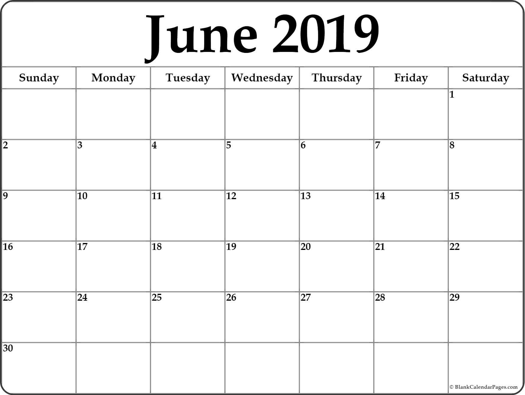 June 2019 Calendar | Free Printable Monthly Calendars pertaining to Fill In Printable Monthly Calendar