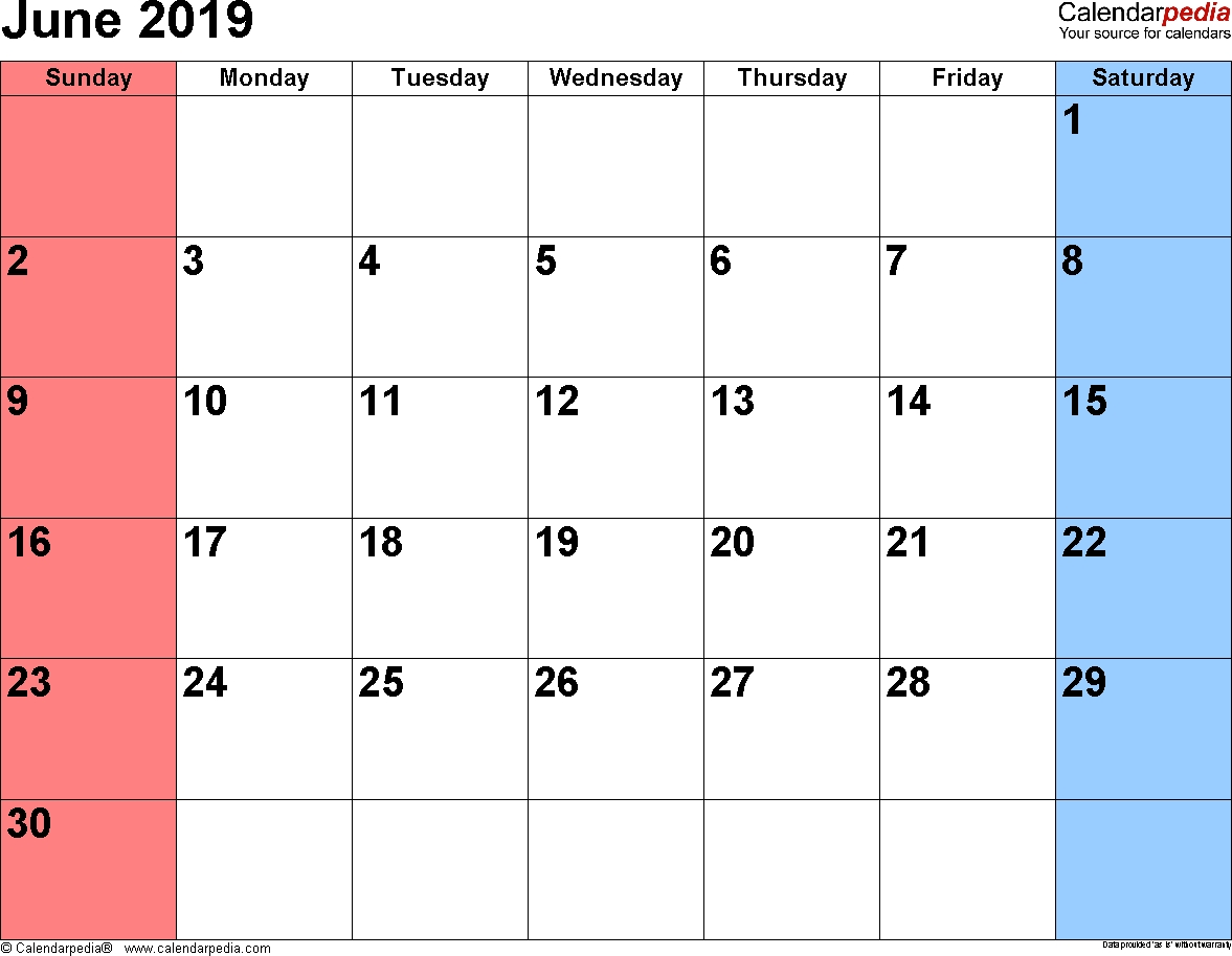 June 2019 Calendars For Word, Excel & Pdf in Free Printable Calendar June 2019 - June 2020