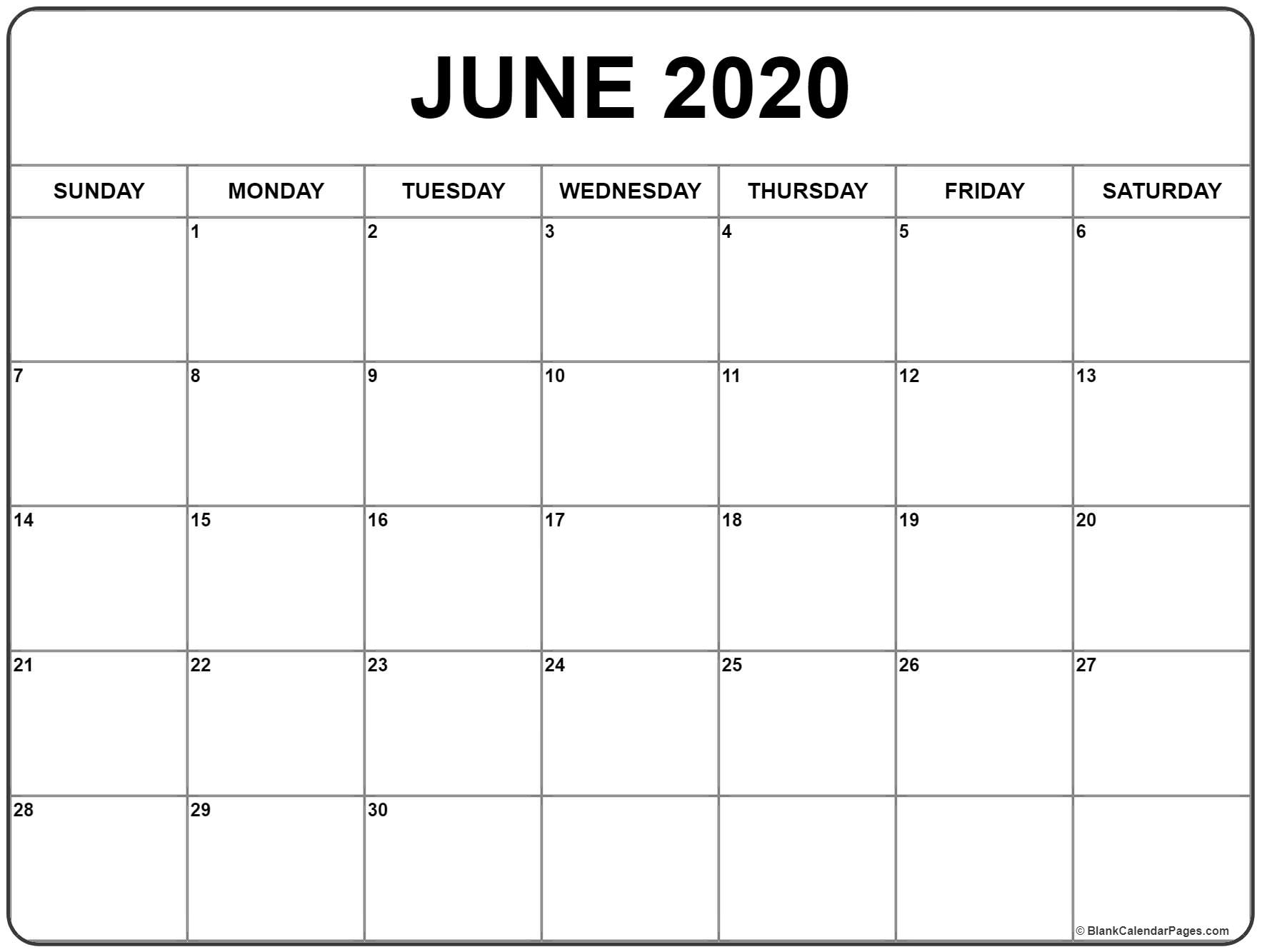 June 2020 Calendar | Free Printable Monthly Calendars for Free Printed Calendars From June 2019 To June 2020
