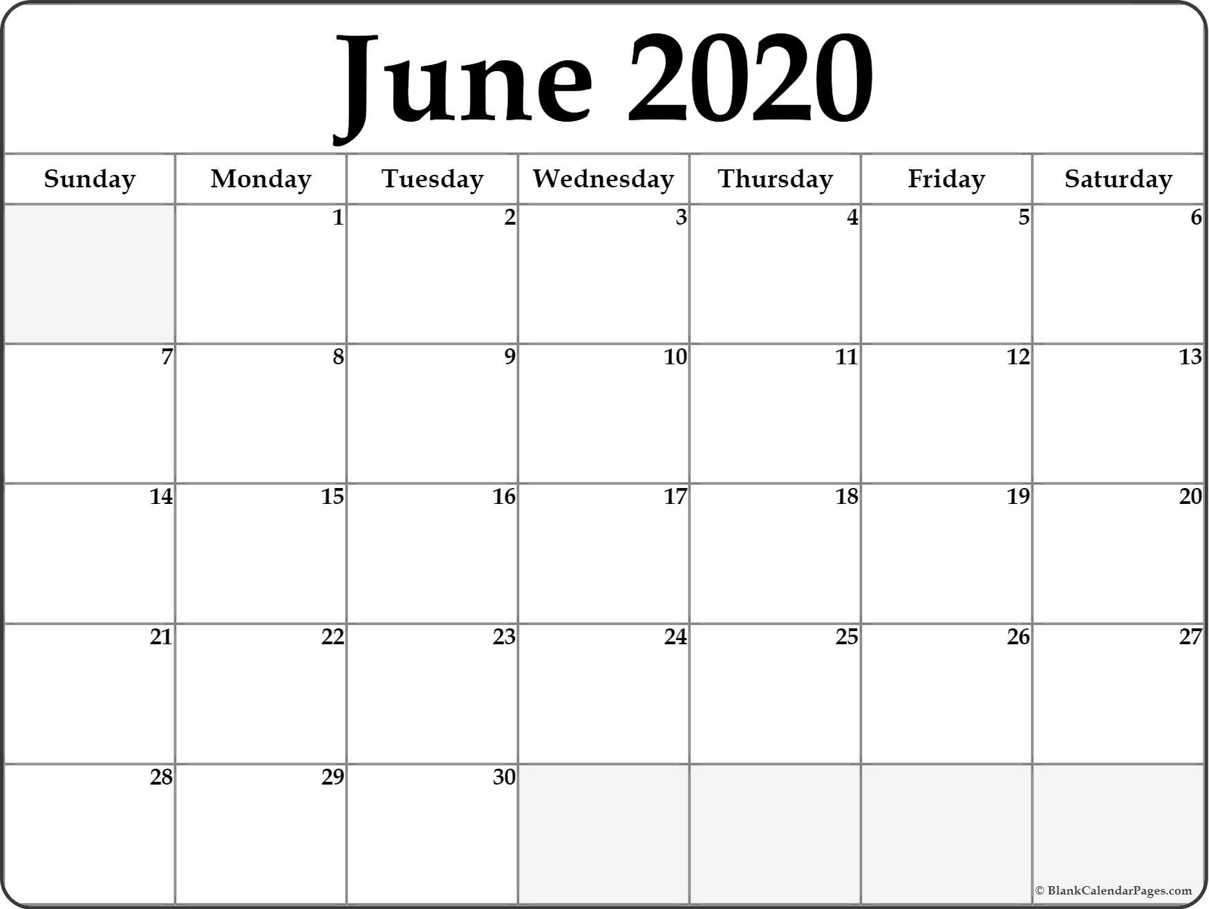 June 2020 Calendar | Free Printable Monthly Calendars regarding 2020 Calendar With Space To Write