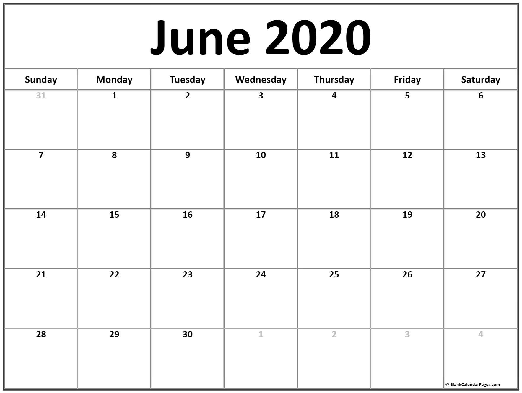 June 2020 Calendar | Free Printable Monthly Calendars with 2020 Calender With Space To Write