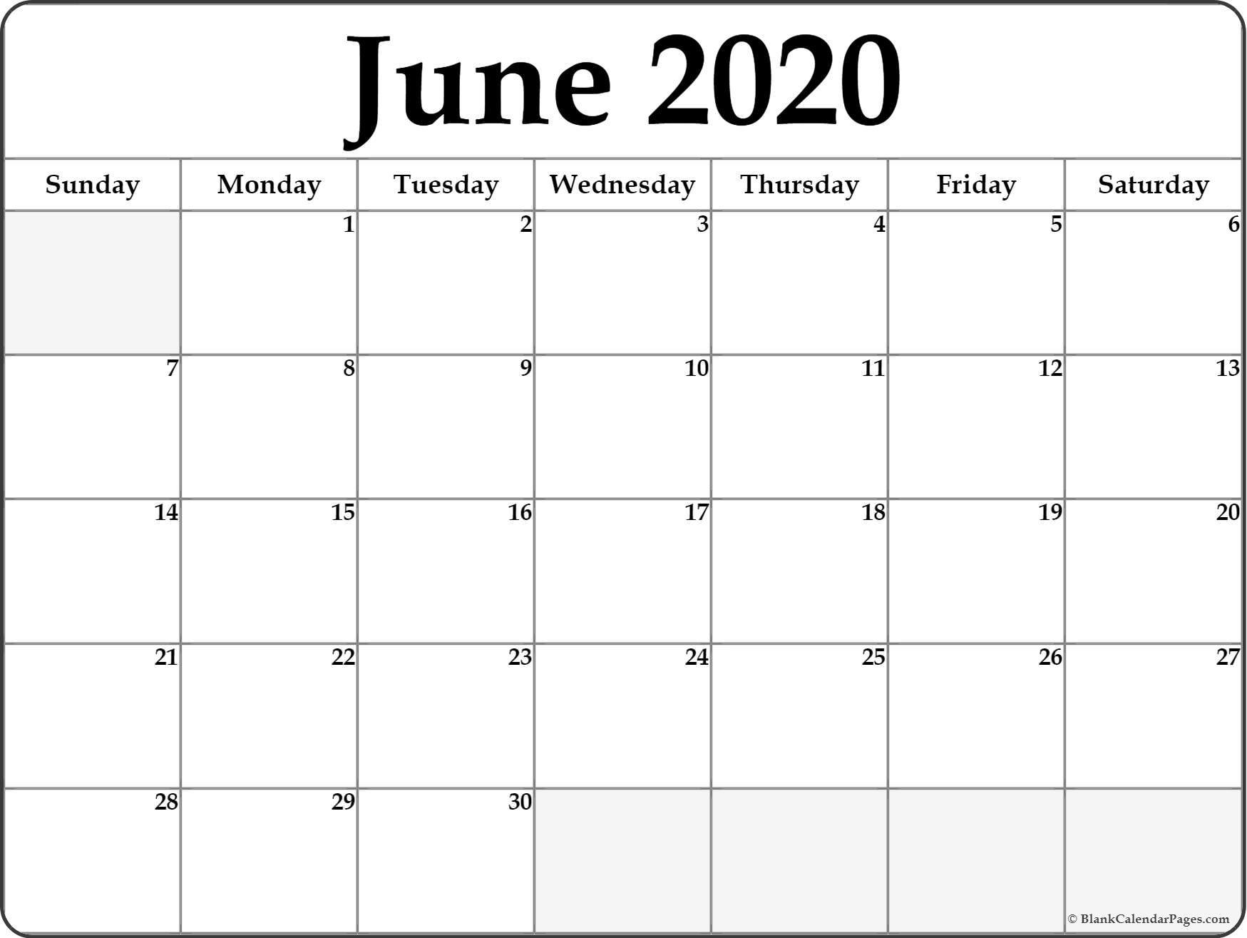 June 2020 Calendar | Free Printable Monthly Calendars with regard to Free Printable Calendar July 2019-June 2020
