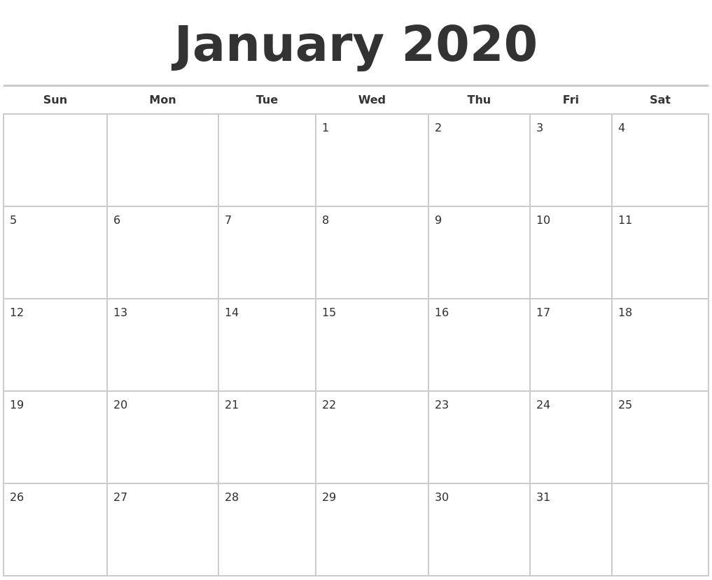 June 2020 Calendar Maker inside Free 2020 Calendar Maker