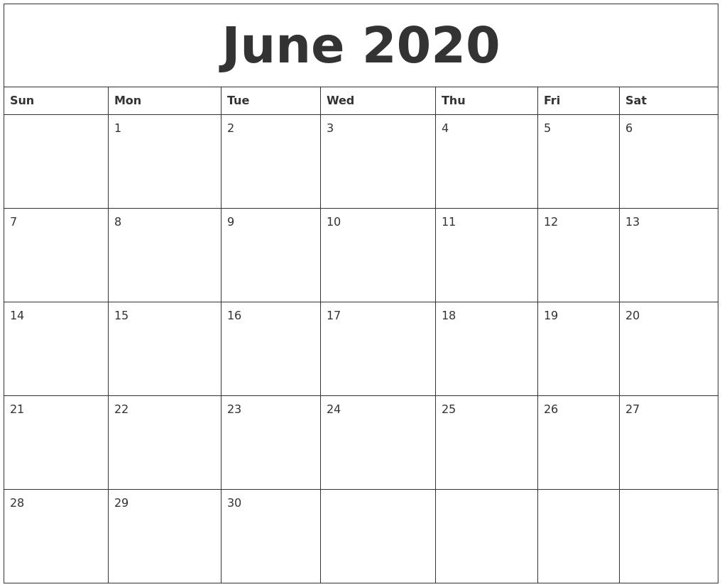 June 2020 Calendar Printable Free in July 2019 - July 2020 Calendar Printable Free