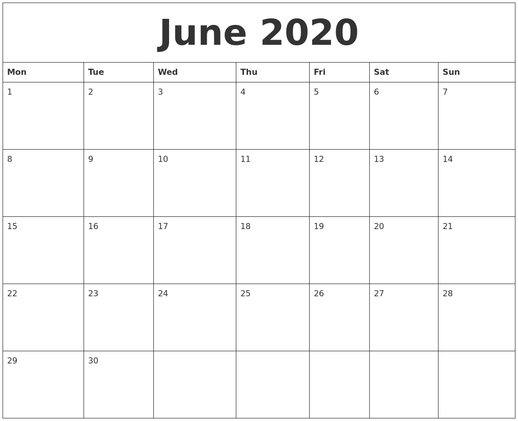 June 2020 Calendar within July 2019 To June 2020 Calendar