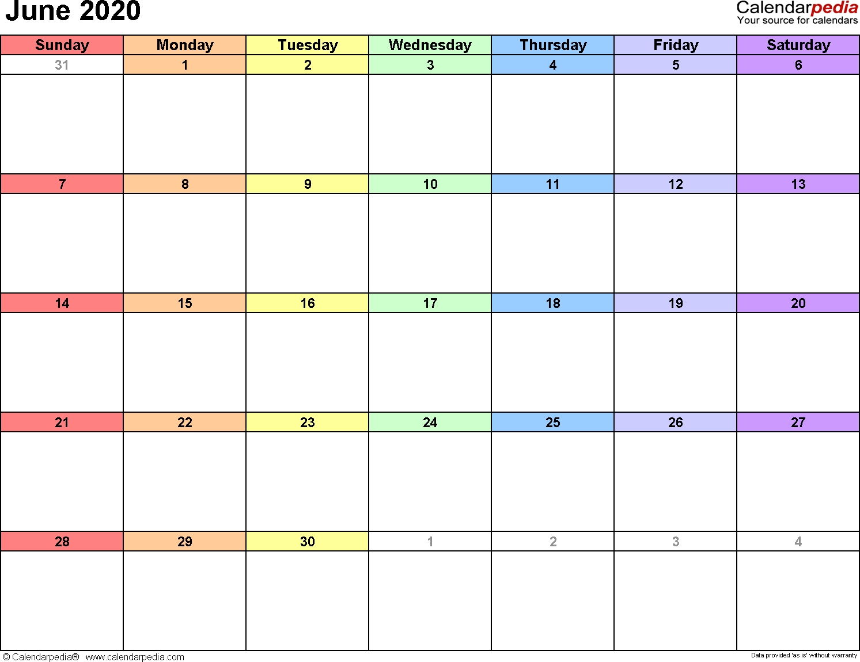 June 2020 Calendars For Word, Excel & Pdf intended for Calendar 2020 Large Box