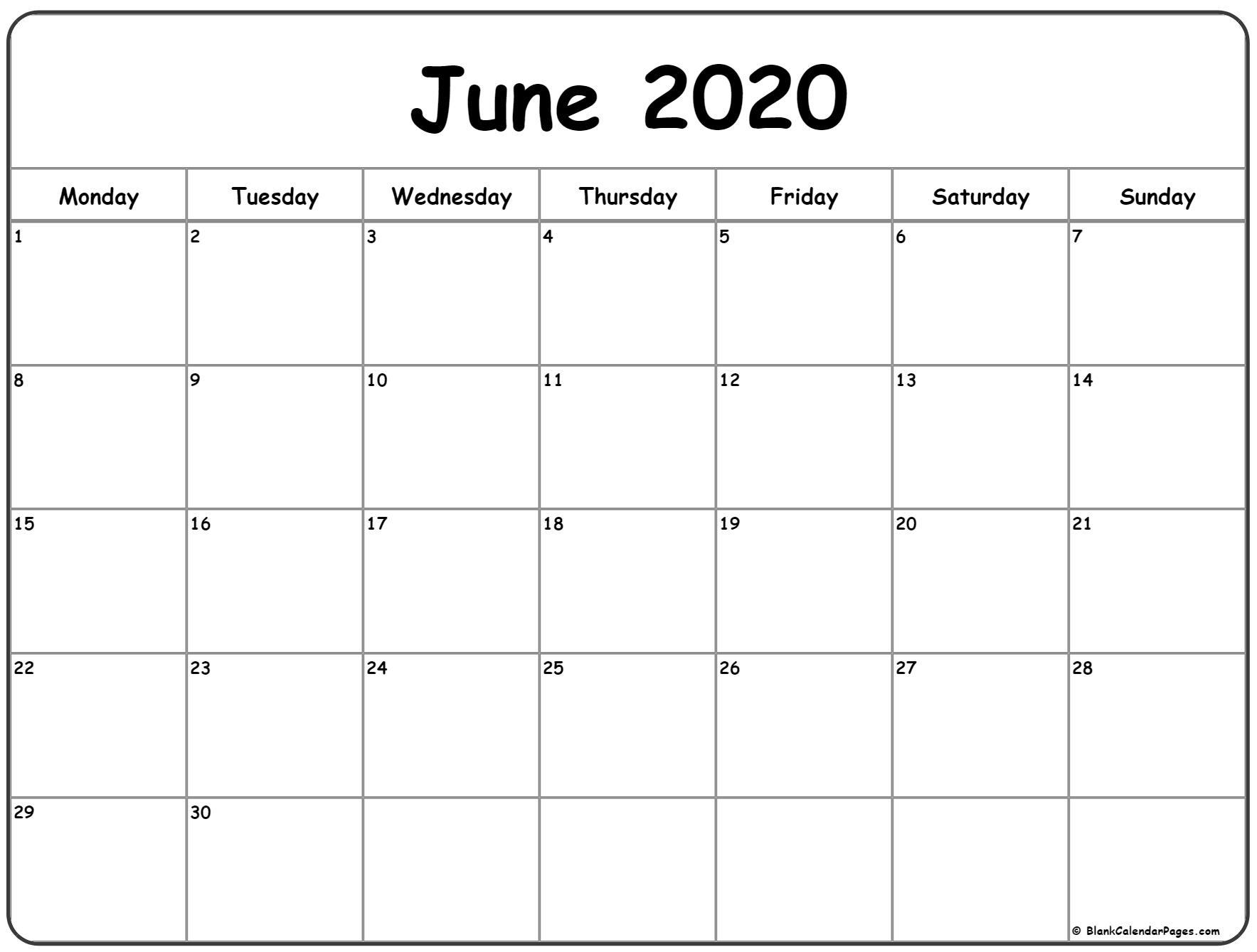 June 2020 Monday Calendar | Monday To Sunday with regard to 2020 Printable Calendar Free That Start With Monday