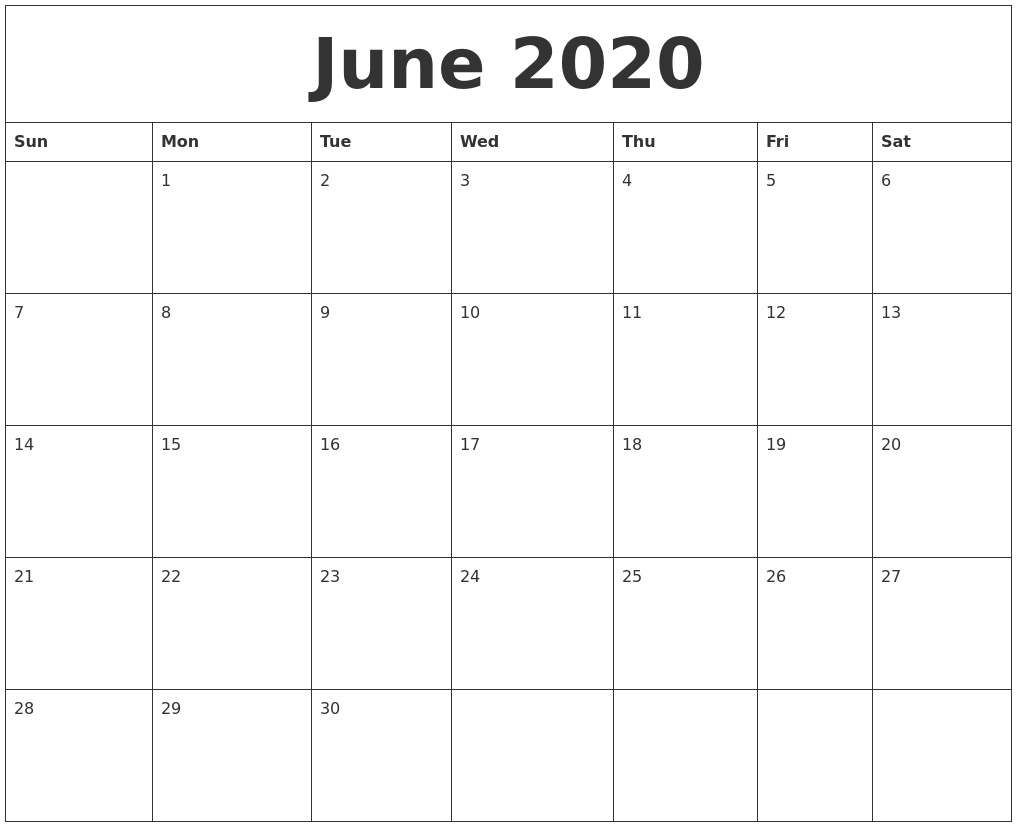 June 2020 Monthly Calendar To Print for Caleners From July 2019 -December 2020 Free Printable