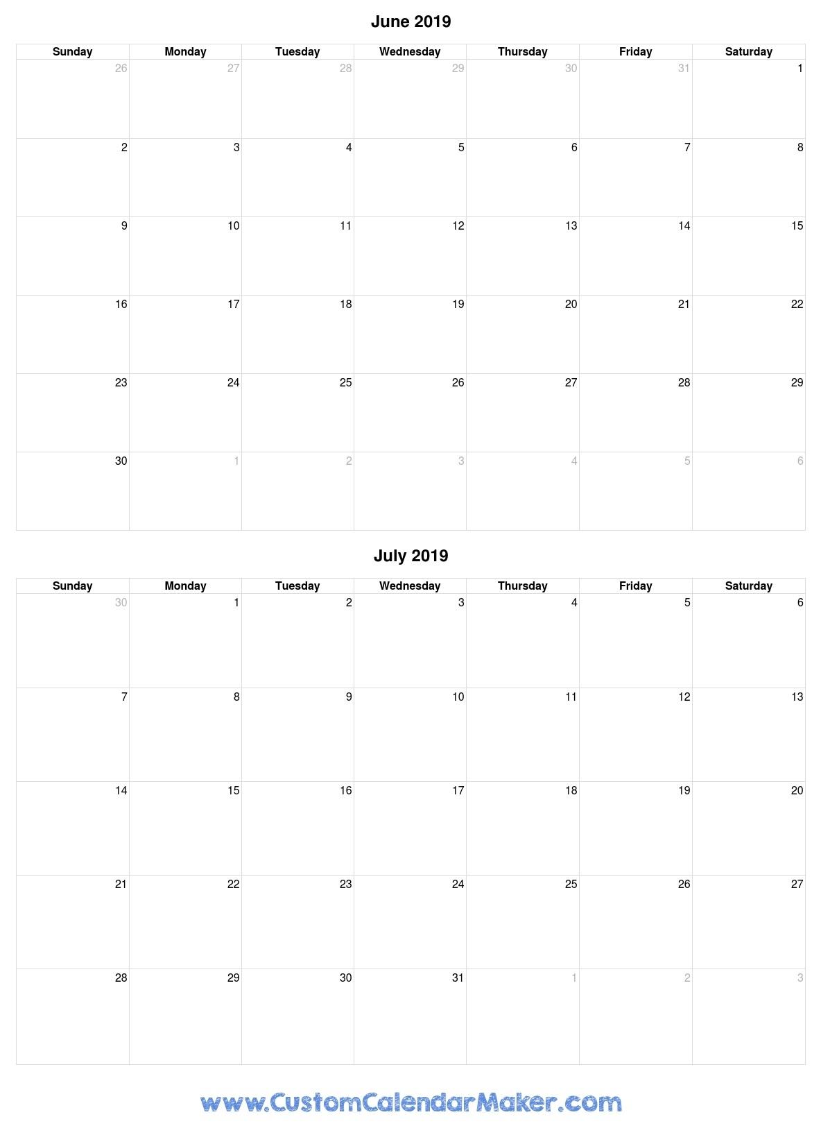 June And July 2019 Free Printable Calendar Template in Calendar For June July