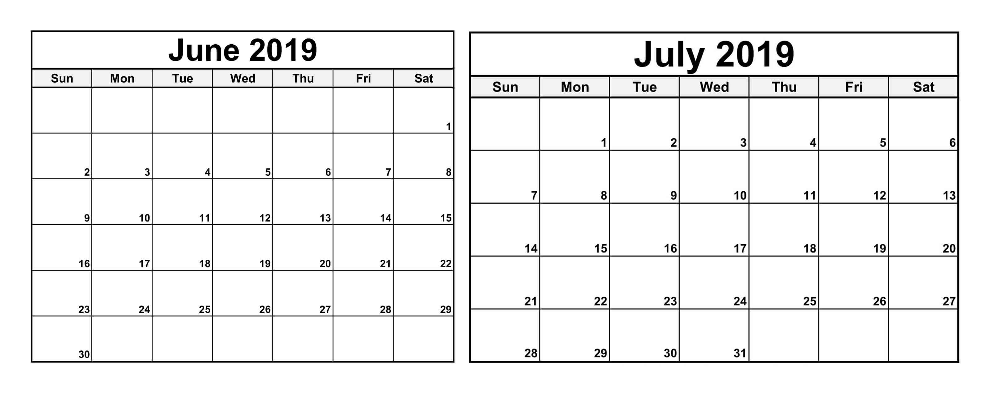 June July 2019 Calendar With Holiday – Magic Calendar 2019 Printable within Calendar For June July