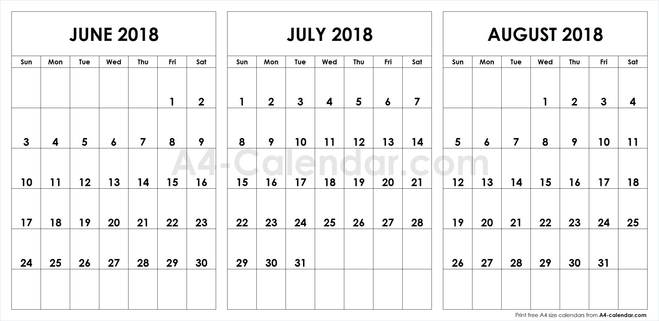 June July August 2018 A4 Calendar | 3 Month Calendar Template with regard to Calendar For June July