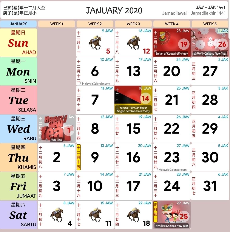 Kalendar 2020 Dan Cuti Sekolah 2020 - Rancang Percutian Anda for Calendar 2020 Kuda