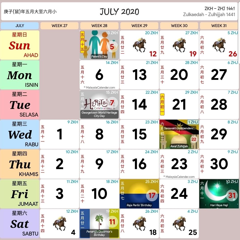 Kalendar 2020 Dan Cuti Sekolah 2020 - Rancang Percutian Anda for Calendar 2020 Malaysia Kuda