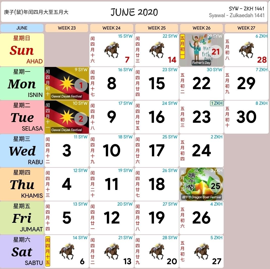 Kalendar 2020 Dan Cuti Sekolah 2020 - Rancang Percutian Anda intended for Calendar 2020 Kuda