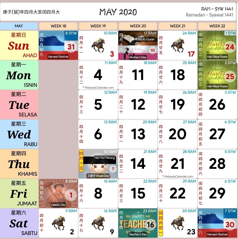 Kalendar 2020 Dan Cuti Sekolah 2020 - Rancang Percutian Anda within Raya.cina 2020