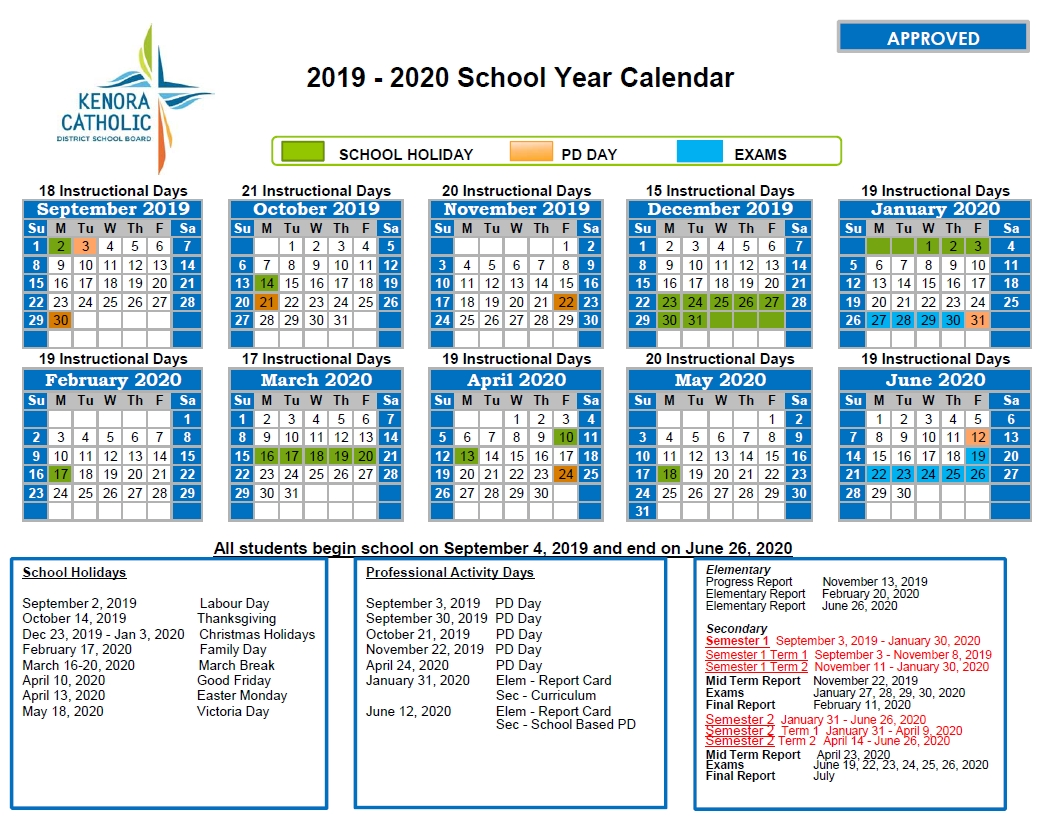 Kenora Catholic District School Board regarding Year Calendar 2020 Special Days