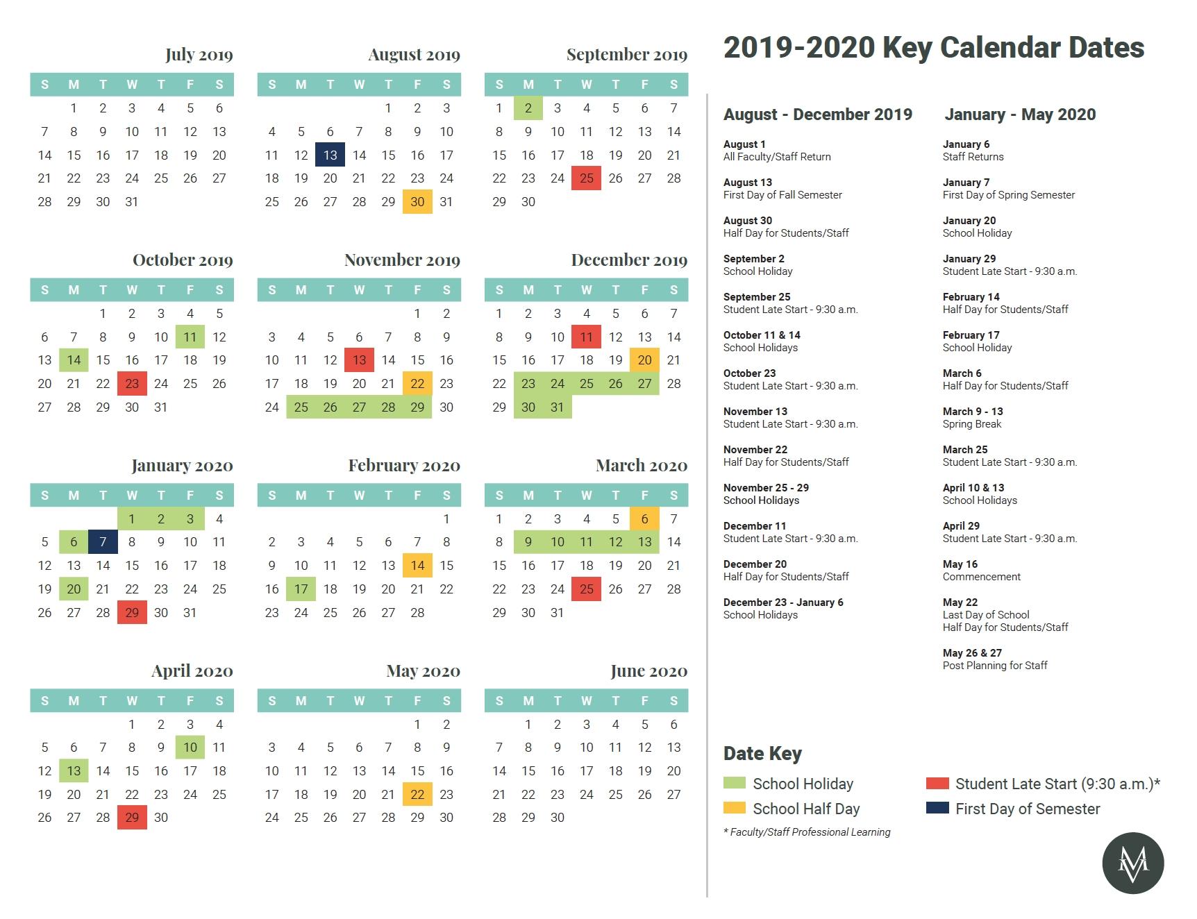 Key Calendar Dates 2019-2020 – Mount Vernon Lookup intended for Calendar 2019-2020 Important Dates