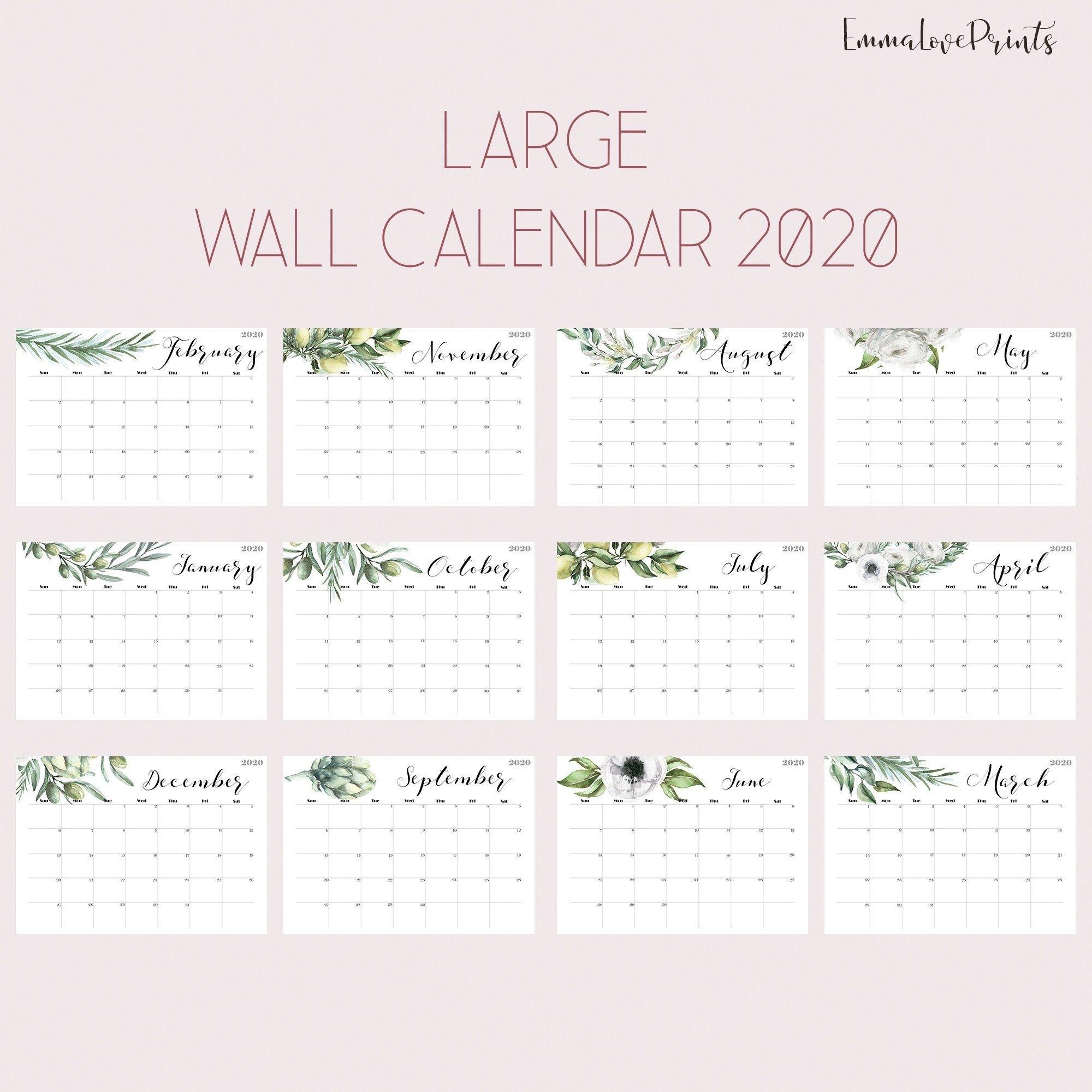Large Wall Calendar 2020 Wall Calendar Printable Botanical Plants pertaining to 2020 Wall Calendar Kikki K