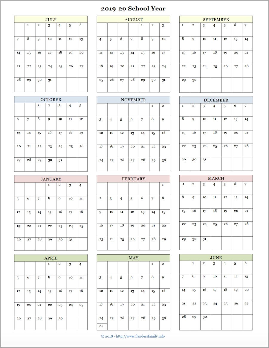Mailbag Monday: More Academic Calendars (2019-2020) - Flanders for Year At A Glance Calendar 2020 Free Printable