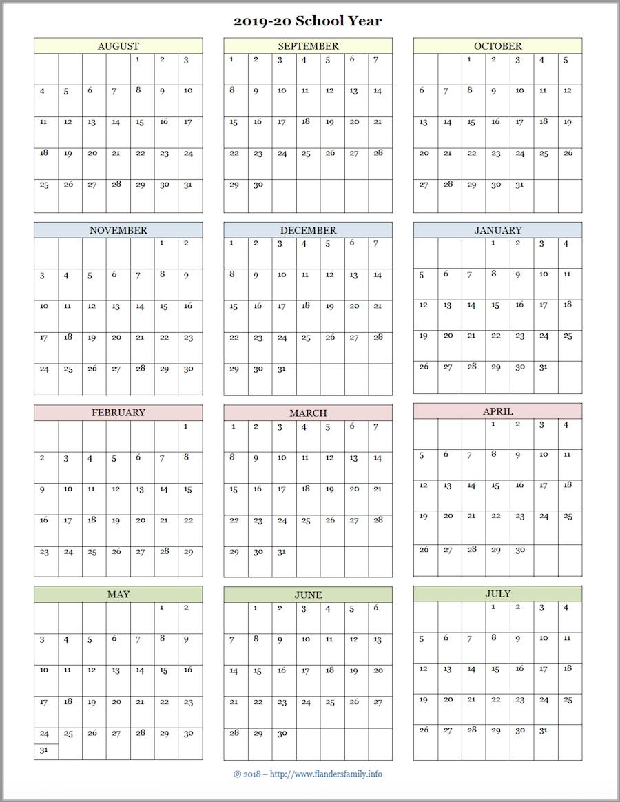 Mailbag Monday: More Academic Calendars (2019-2020) - Flanders inside 2020 Printable Year At A Glance Calendar