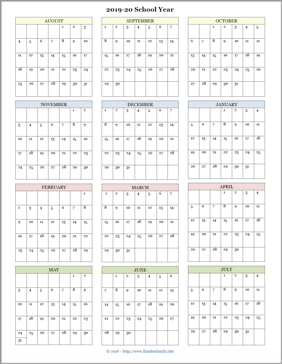 Mailbag Monday: More Academic Calendars (2019-2020) - Flanders intended for Year At A Glance Calendar 2020 Free Printable