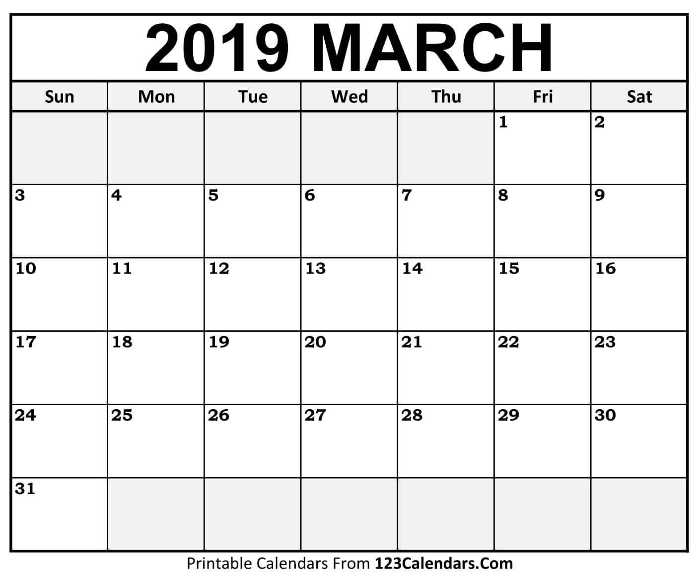 "March 2019 Printable Calendar | Free March 2019 Calendar Printable regarding 11"" X 8.5"" Calendar Pages 2020 Free"
