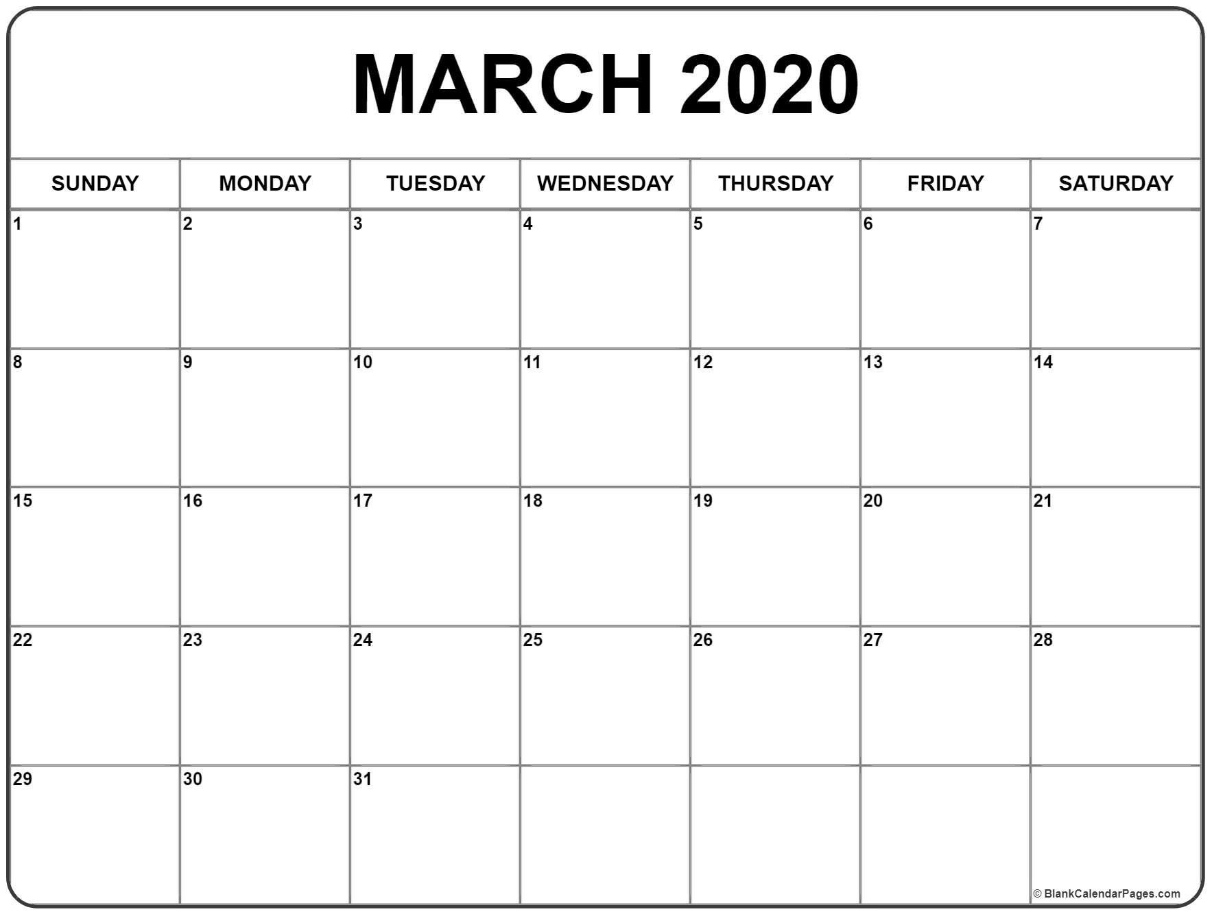 March 2020 Calendar | Free Printable Monthly Calendars pertaining to Writing Calendar For 2020