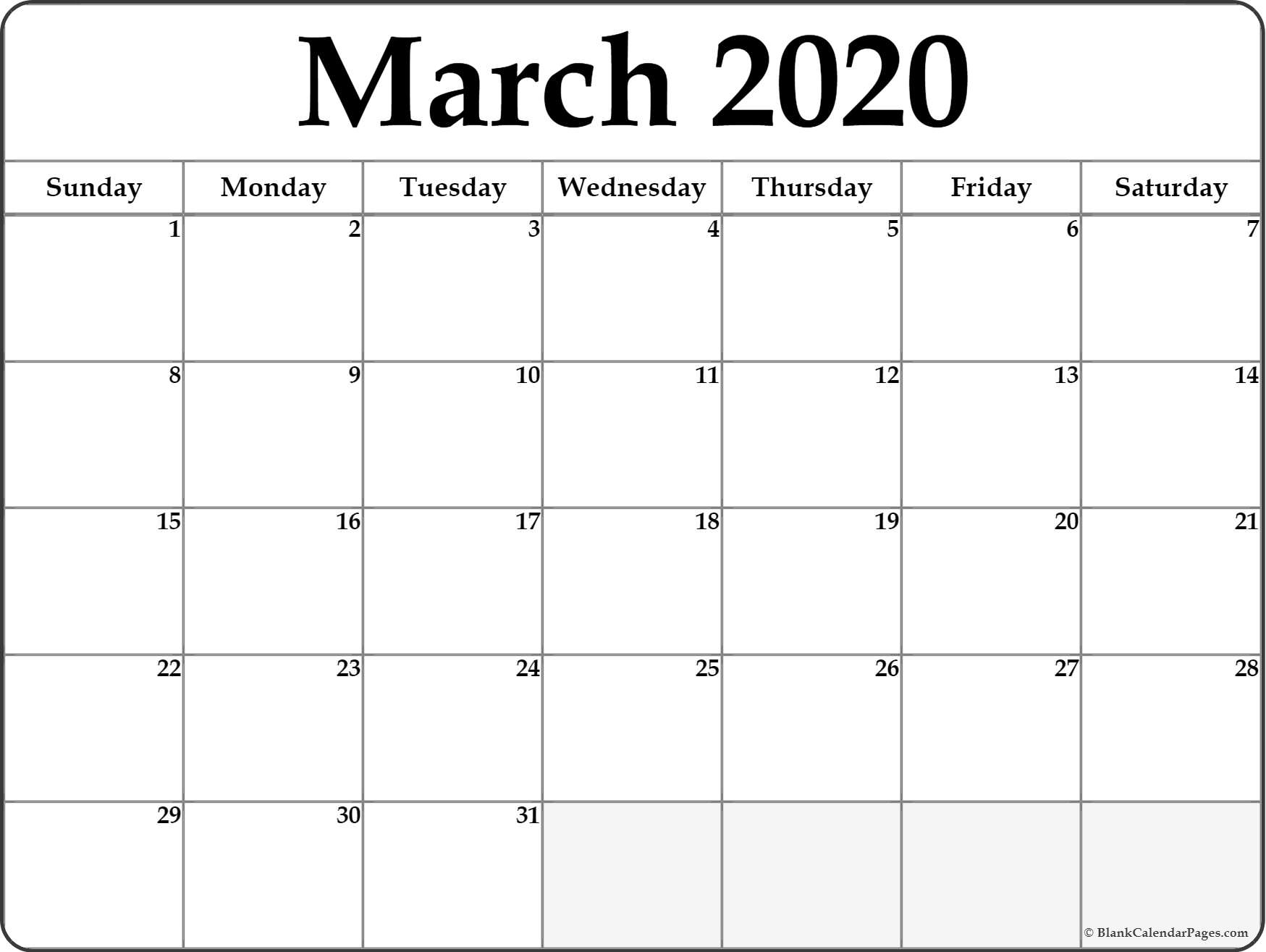 March 2020 Calendar | Free Printable Monthly Calendars within Writing Calendar For 2020
