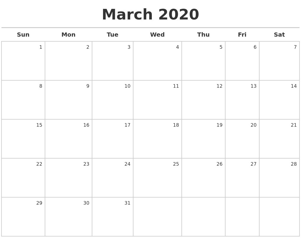 March 2020 Calendar Maker in Free 2020 Calendar Maker