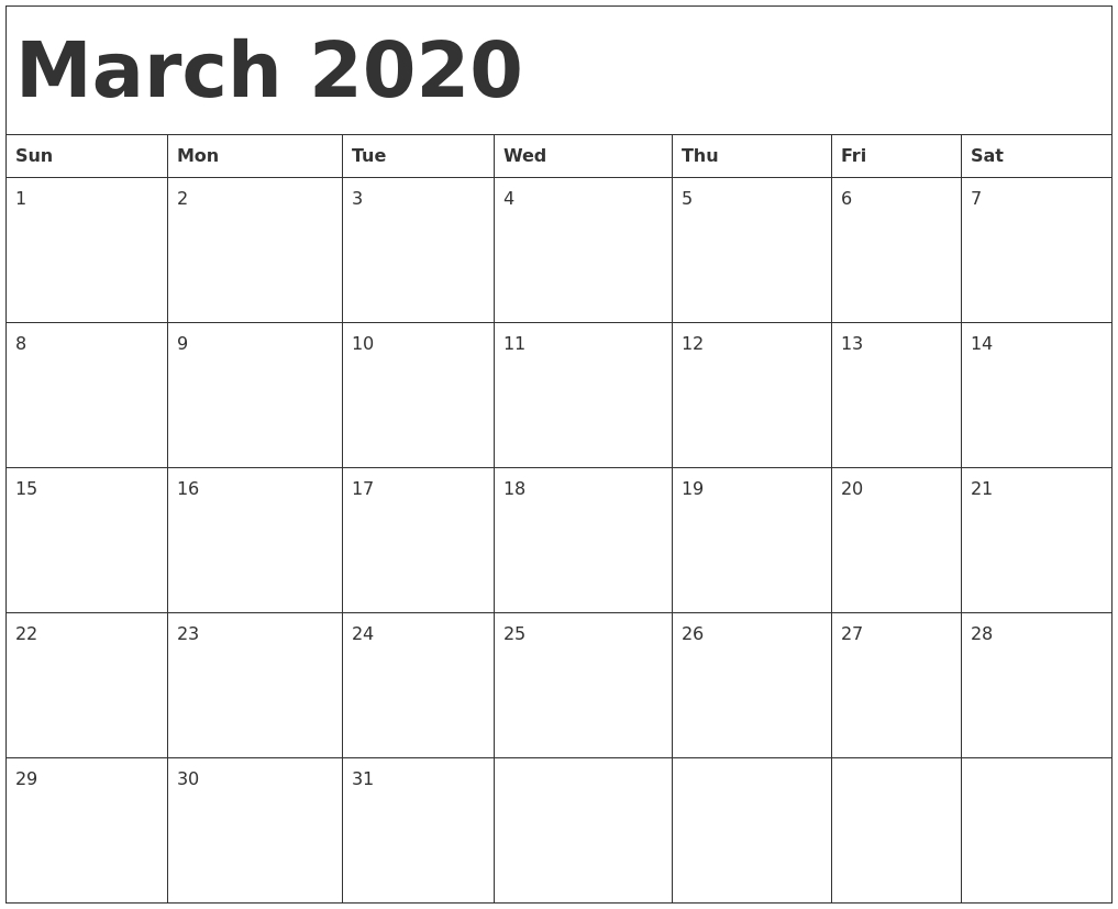 March 2020 Calendar Template with Monday - Sunday 2020