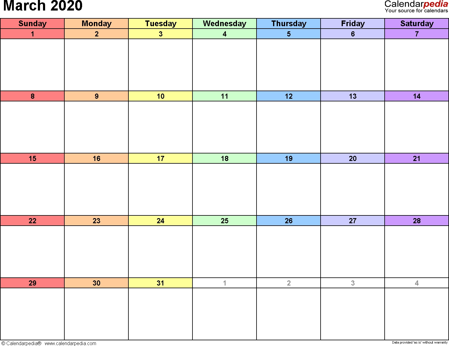 March 2020 Calendars For Word, Excel & Pdf pertaining to Printable Coloring Calendar 2020