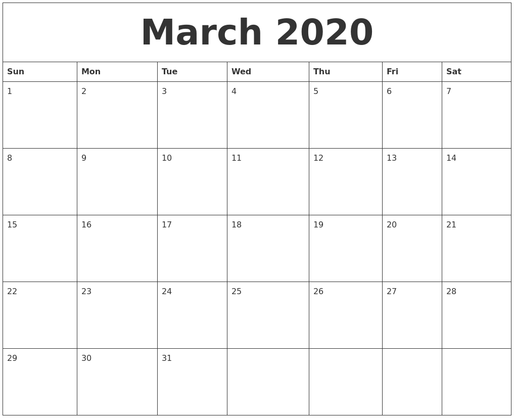 March 2020 Large Printable Calendar with Free Calendars2020Big Numbers