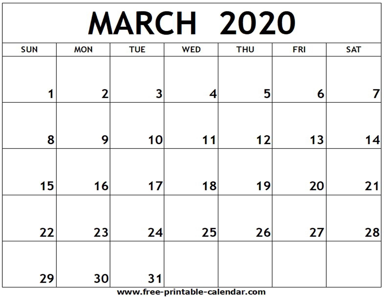 March 2020 Printable Calendar - Free-Printable-Calendar in 2020 Fill In Calendar