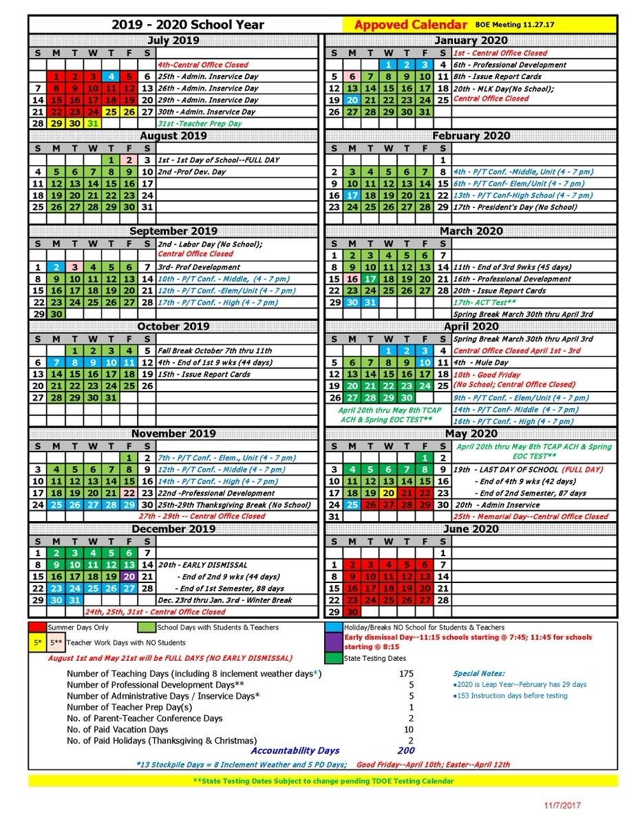 "Maurycopublicschools On Twitter: ""the 2019 - 2020 Calendar Has Been pertaining to Unit 4 Calendar 2019-2020"