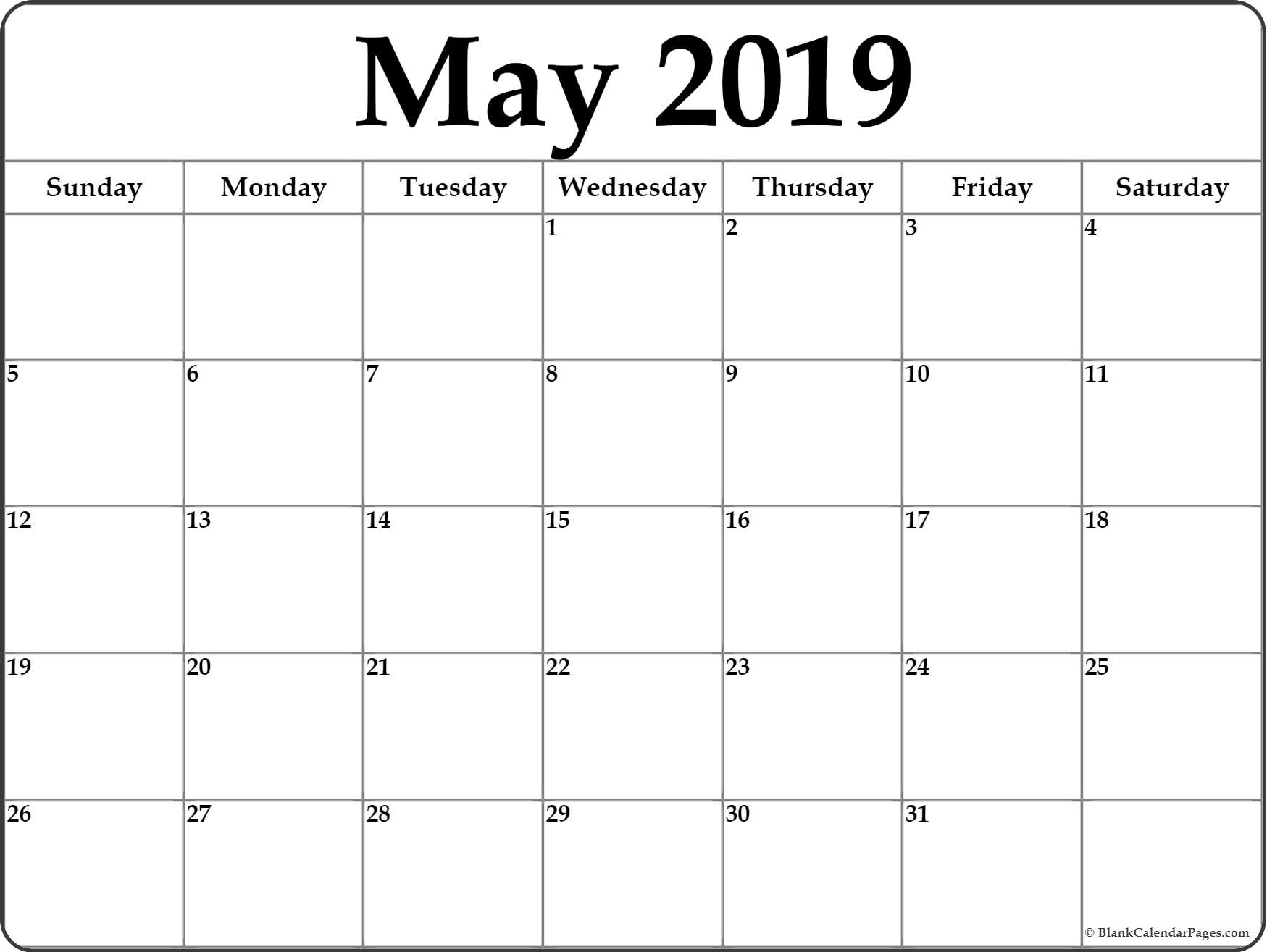 May 2019 Calendar | Free Printable Monthly Calendars in Fill In Printable Monthly Calendar